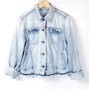 Gap Jean Jacket Distressed Frayed Light Button Up